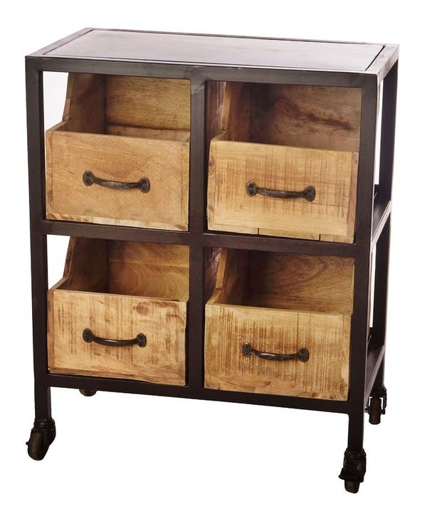 vintage holzbox schublade kommode auf rollen eichenscheune massiv m bel onlineshop. Black Bedroom Furniture Sets. Home Design Ideas